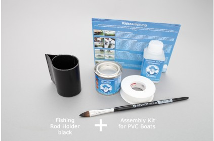 Fish rod holder for inflatable PVC boat and assembly kit